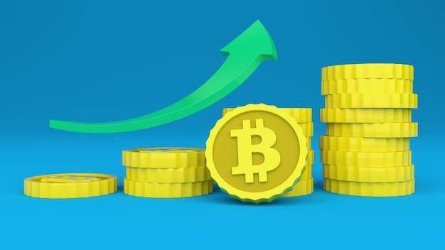 Bitcoin cryptocurrency verhoogt zijn prijs driedimensionaal beeld over de prijs van de virtuele valuta