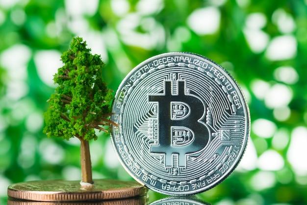 Bitcoin digitale valuta op groene achtergrond