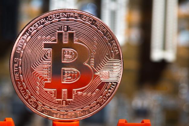 Bitcoin digitale valuta op het moederbord