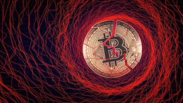 Bitcoin down trend paniek verkoop concept 3d illustratie