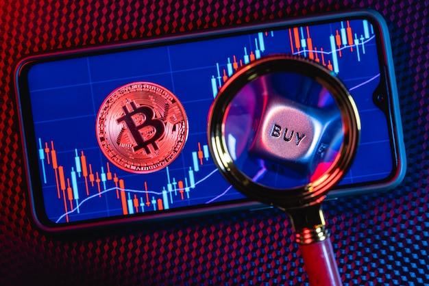 Bitcoin en koop-verkoop dobbelstenen op een smartphonescherm met de afbeelding van stockkandelaars