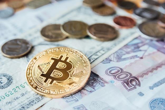 Bitcoin, euro, dollar en roebels