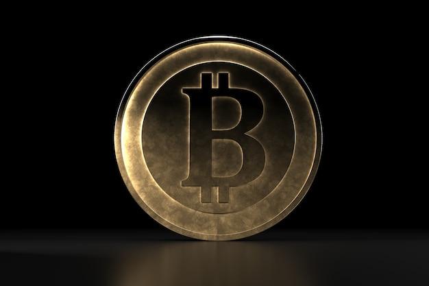 Bitcoin gouden munt, digitale valuta. 3d cryptocurrency.