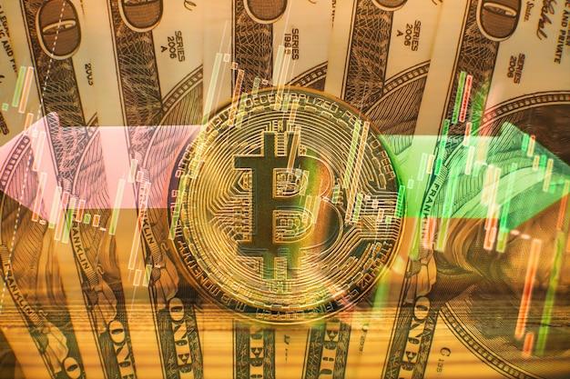Bitcoin gouden munt en intreepupil grafiek achtergrond. gouden bitcoins met candle stick graph-grafiek en digitale achtergrond. gouden munt met pictogram letter b. mijnbouw of blockchain-technologie