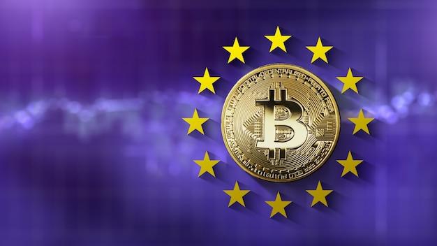Bitcoin gouden munt met sterren van de europese unie op de ultraviolette achtergrond van het wazige scherm van het handelsschema. regulering en verkoop van bitcoins op eu-niveau. cryptocurrency handelsconcept. ca
