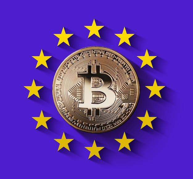 Bitcoin gouden munt met sterren van de europese unie
