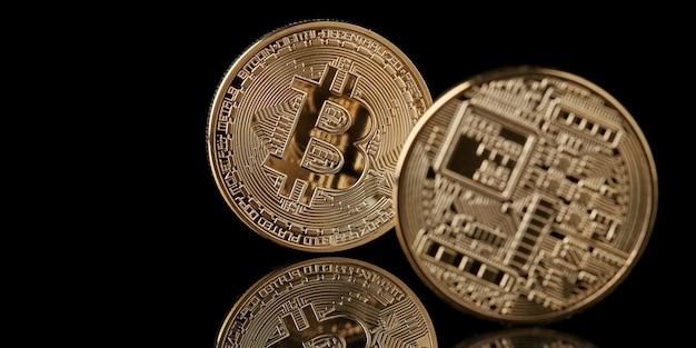 Bitcoin gouden munt van beide kanten geïsoleerd, nieuw virtueel geldconcept