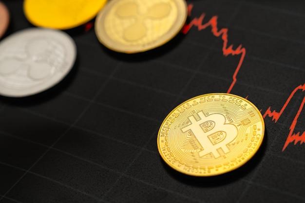 Bitcoin-grafiek. cryptocurrency is de valuta van de toekomst. de marktprijs is bitcoin.