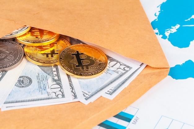 Bitcoin, grafiek en amerikaanse dollar. financiële handel