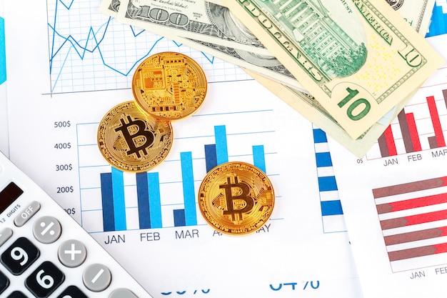 Bitcoin, grafiek en amerikaanse dollar.