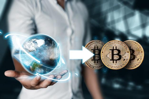 Bitcoin. het concept van instabiliteit van de cryptovaluta,