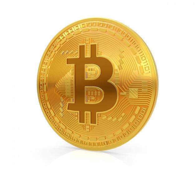 Bitcoin. het gouden muntstuk met bitcoinsymbool dat op witte 3d wordt geïsoleerd geeft terug.
