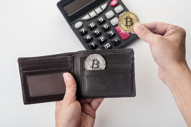 Bitcoin in de portefeuille, witte achtergrond