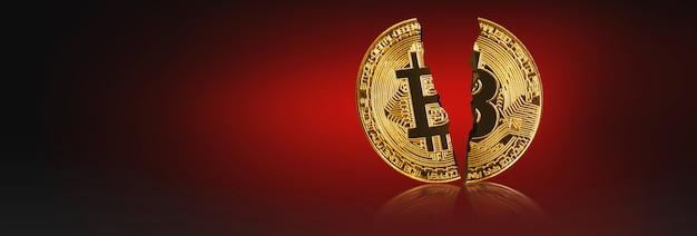 Bitcoin in tweeën gesneden geïsoleerd op rood