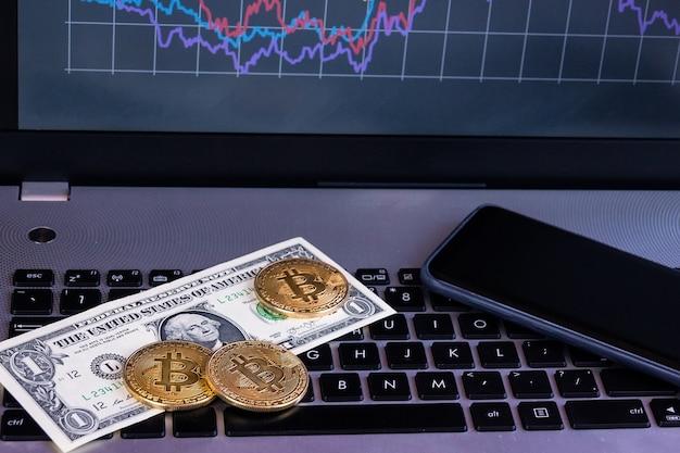 Bitcoin laptop grafiek