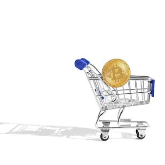 Bitcoin met winkelwagen