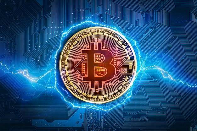 Bitcoin-munt. bitcoin-crypto-valuta op de abstracte achtergrond van het elektronische moederbord.
