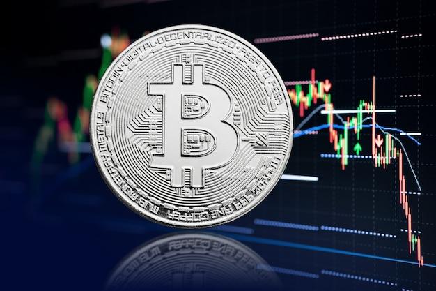 Bitcoin munt en aandelengrafiek met prijsdaling. cryptogeld