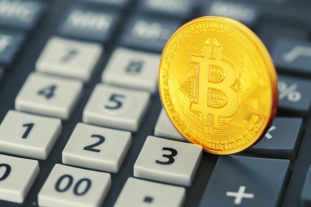 Bitcoin-munt en rekenmachine