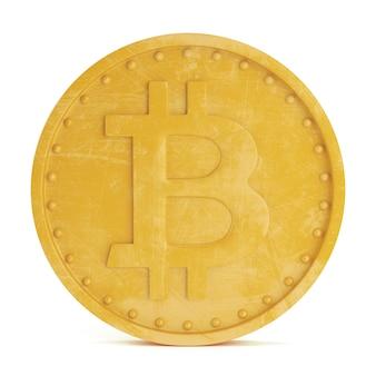 Bitcoin-munt geïsoleerd op een witte achtergrond