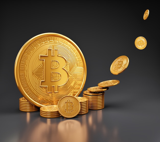 Bitcoin-munten gestapeld met cryptocurrency en geldbesparende concept.