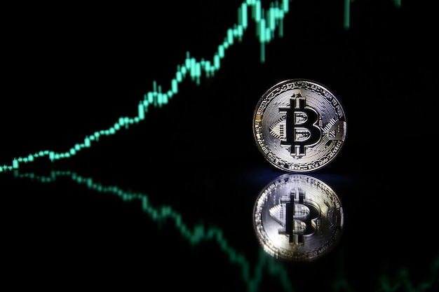 Bitcoin op de achtergrond van bullish aandelengrafiek