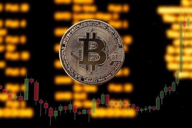 Bitcoin op de achtergrond van een onscherpte grafieken