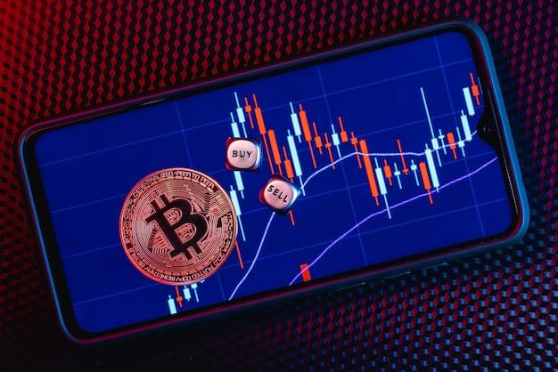 Bitcoin op een smartphonescherm met de afbeelding van stockkandelaars