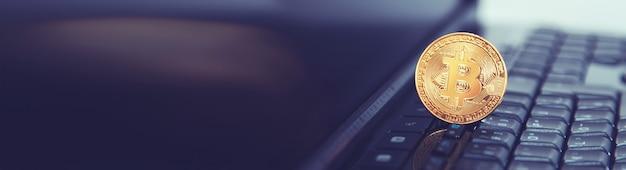Bitcoin op een toetsenbord