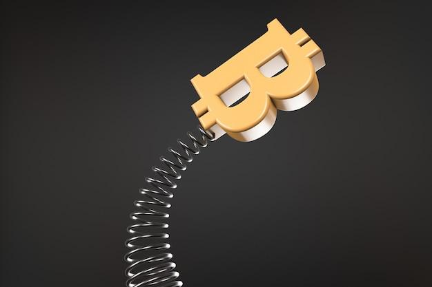 Bitcoin-symbool zwaait op een veer