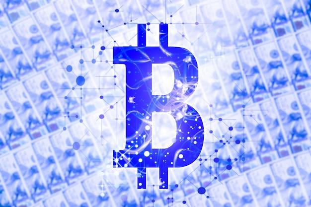 Bitcoin teken op geld achtergrond. dollar bankbiljetten.