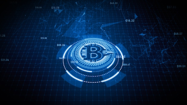 Bitcoin valutateken in digitale cyberspace, bedrijfs en technologie netwerkconcept.