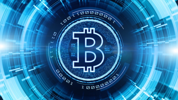 Bitcoin valutateken op digitale cyberspace achtergrond
