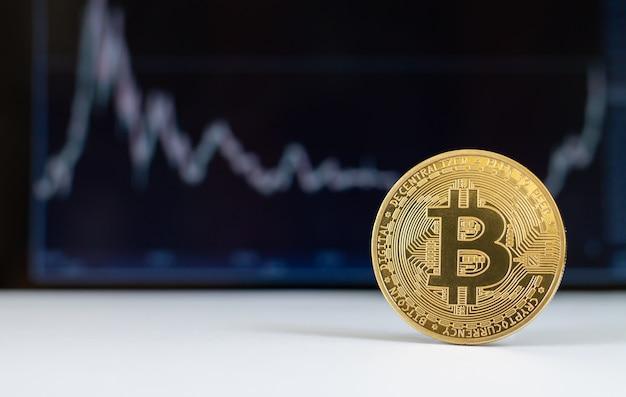 Bitcoin virtuele cryptocurrency met groeigrafiek
