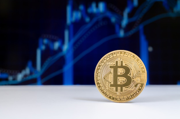 Bitcoin virtuele cryptocurrency op grafiek