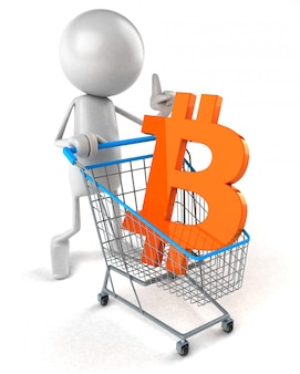 Bitcoin winkelen - 3d illustratie