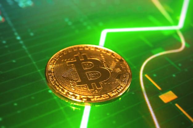 Bitcoinmuntstuk op de groene grafiekgrafieken van de groeivoorraad, de achtergrond van de conceptenfoto van cryptovaluta