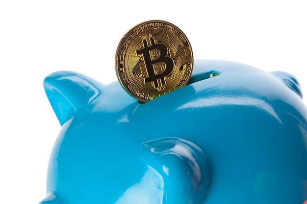 Bitcoins besparen in een spaarvarken
