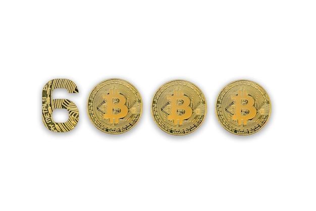Bitcoins geïsoleerd op wit