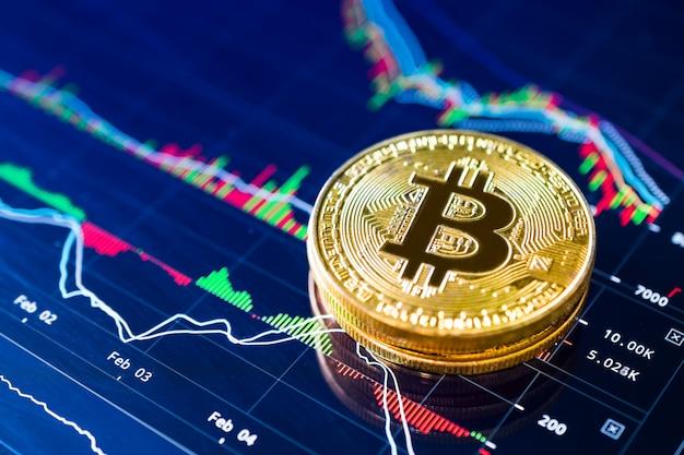 Bitcoins op cryptocurrency-concept van de laddergrafiek.