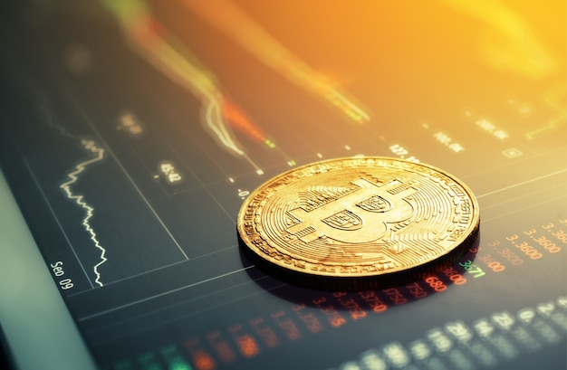 Bitcoins op cryptocurrency van de ladderdiagram achtergrondconcept.