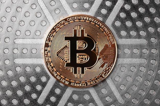 Bitcoins virtueel geld. concept wereldwijd cryptocurrency.