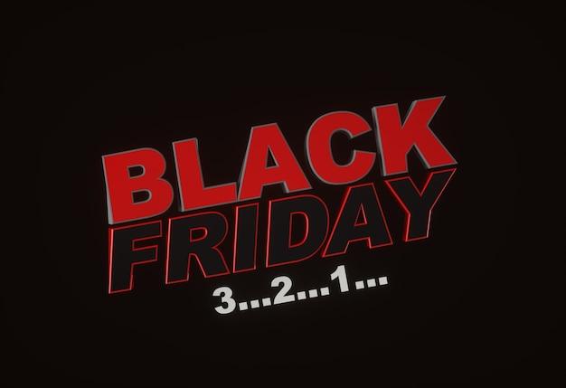 Black friday 3...2...1... donkere achtergrond rode tekst belettering. horizontale banner, poster, header website. 3d-weergave.