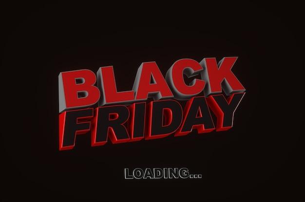 Black friday aan het laden. donkere achtergrond rode tekst belettering. horizontale banner, poster, header website. 3d-weergave.