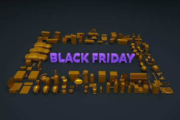 Black friday-banner op donkere achtergrond. tekst is black friday, er zijn veel dingen en producten in de buurt. black friday-flyer. reclamebanner op een zwarte achtergrond. bovenaanzicht