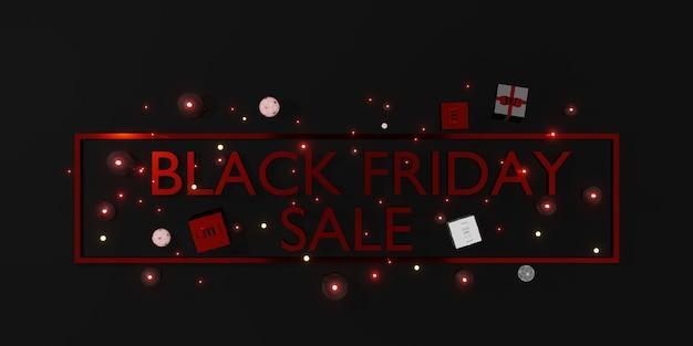 Black friday banner winkelverkoop met geschenken en ballonnen 3d illustratie