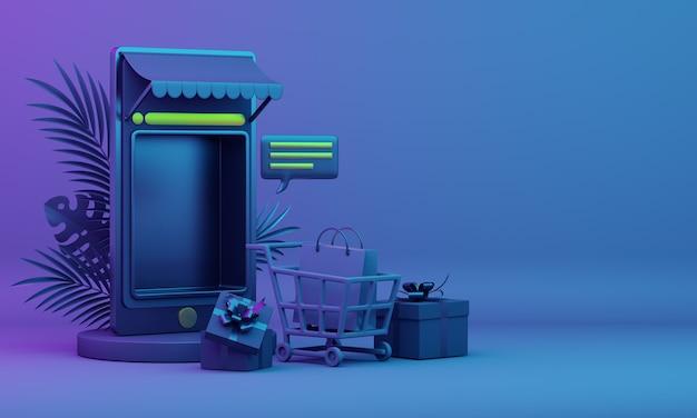 Black friday online verkoop decoratie achtergrond met smartphone illustratie winkelwagentje geschenkdoos