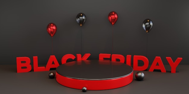 Black friday-podiumsjabloon met 3d-ballon. premium psd
