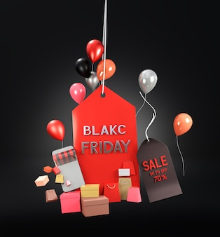 Black friday-uitverkoop met geschenken en ballonnen
