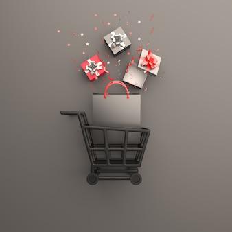 Black friday verkoop decoratie achtergrond met winkelwagentje geschenkdoos